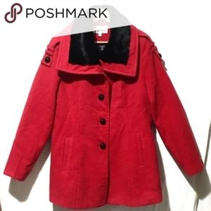 ModCloth red coat with faux fur collar